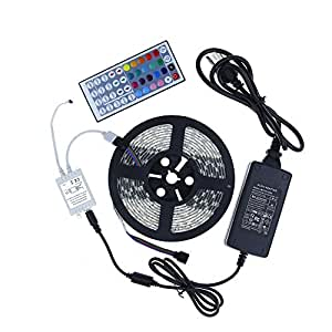 ALITOVE 16.4ft 5M 300 LEDs 5050 SMD RGB Color Changing LED Flexible Strip Ribbon Light Black PCB DC 12V Waterproof IP65 for Home Garden Commercial Area and Festival Decoration Lighting