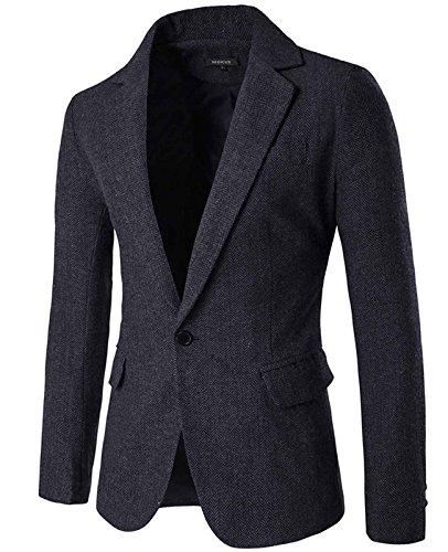 Nidicus Mens Herringbone Fit British Style Blazer One Button Sport Coat Black Grey ()