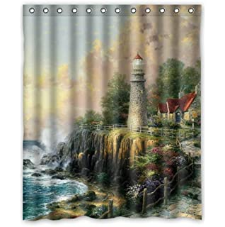 Custom It Sea Lighthouse Cottage House Design Stall Mildew Resistant  Waterproof Bathroom Fabric Shower Curtain 60
