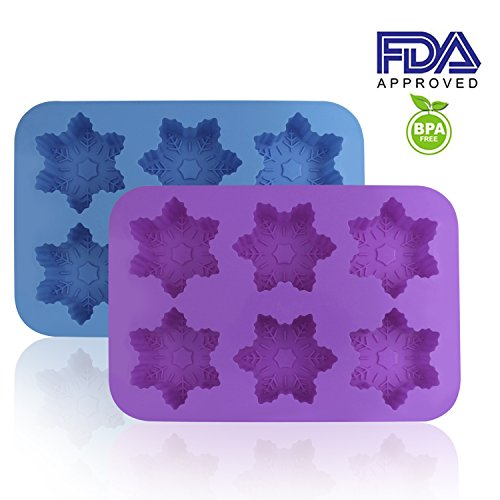 - Silicone Snowflake Molds, FineGood 2 Pack Cake Pans Cookie Trays Handmade Soap Making Moulds, Also for Chocolate Pudding Jelly Muffin Cups Kitchen Baking Decoration, 6-Cavity - Blue, Purple