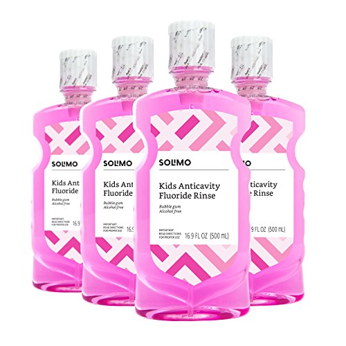Rinse Bubble Gum - Amazon Brand - Solimo Kids Anticavity Fluoride Rinse, Alcohol Free, Bubble Gum, 500 mL (Pack of 4)