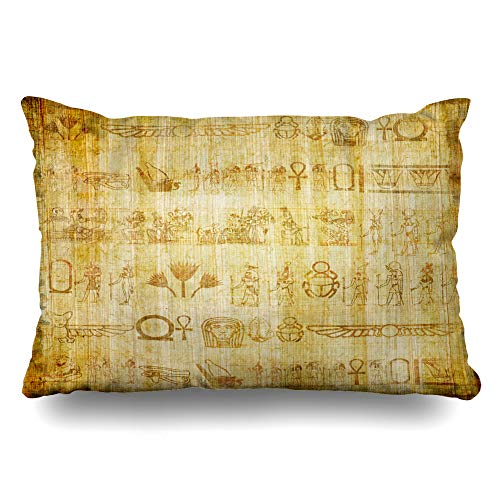 Ahawoso Throw Pillow Cover King 20x36 Old Brown Egypt Ancient Egyptian Parchment Vintage Art Yellow Papyrus Writing Border Pharaoh Africa Cushion Case Home Decor Pillowcase
