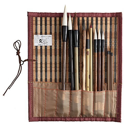 2500 Painting and Calligraphy Art Professional Chinese Art Brush Set 12 Pcs Chinese Paint Brush Kit by 2500 Silk Art