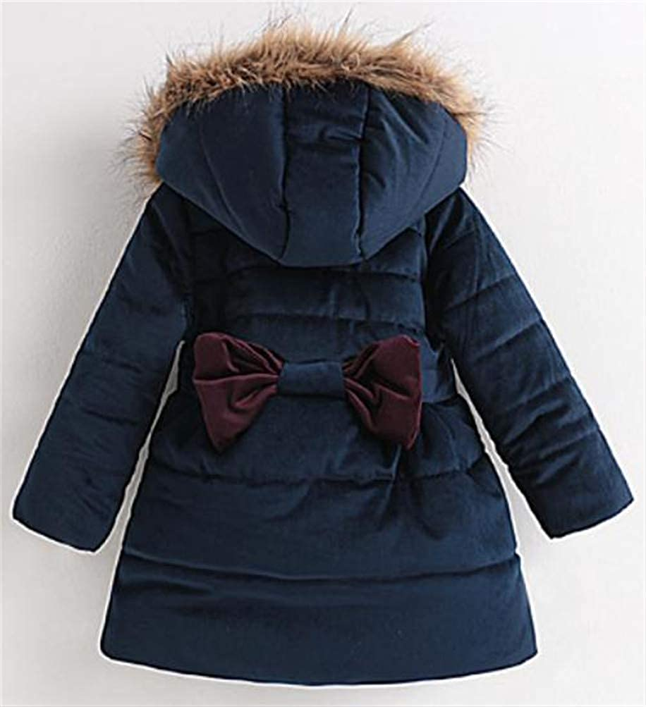 Cromoncent Girls Velvet Hooded Fleece Bowkont Thicken Quilted Casual Jacket Parka Coat