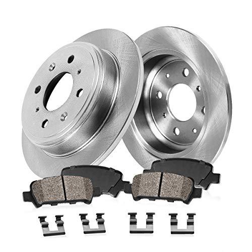 REAR 239 mm Premium OE 4 Lug [2] Brake Disc Rotors + [4] Ceramic Brake Pads + Clips