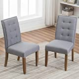 Merax PP036192EAA Set of 2 Stylish Tufted Upholstered Fabric Dining Chairs with Nailhead Detail and Solid Wood Legs, Grey