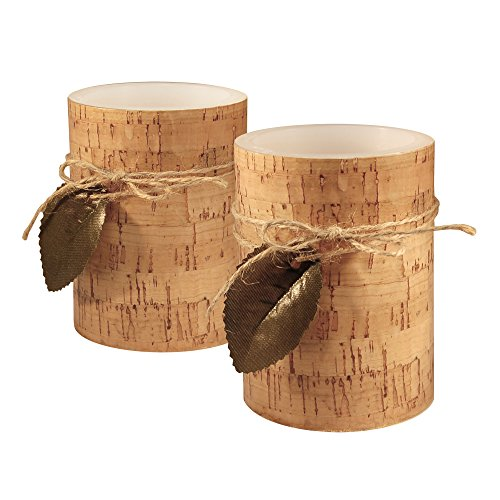 Lumabase 92802 2 Count Cork with Leaf Battery Operated LED Candles, Tan/Green