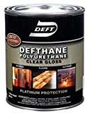 Deft Clear Gloss Polyurethane Exterior, Interior Clear Gloss Amber Hue Colored 1 Qt