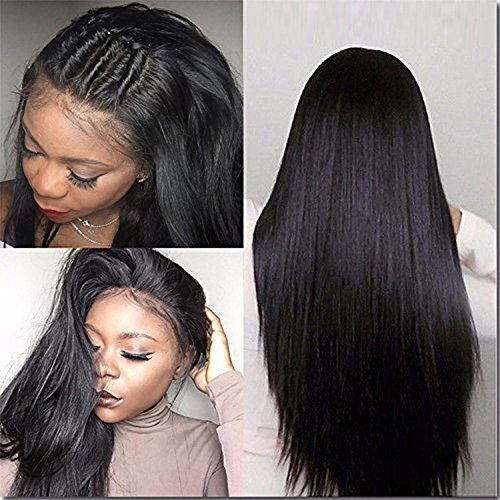 Price comparison product image Straight Human Hair Wigs for Black Women Silk Top Full Lace Wigs with Baby Hair Natural Hairline Remy Hair 180 density 14 inch