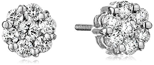 AGS Certified Brilliant-Cut Diamond Flower Cluster Screw Back Stud Earrings in 14K White, Rose or Yellow Gold I-J Color, SI2-I1 Clarity – Choice of Carat Weights