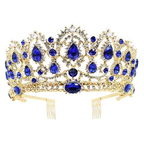 (Vinsco Baroque Crown Vintage Tiara Luxury Retro Headband Crystal Rhinestone Hair Jewelry Decor for Queen Women Ladies Girls Bridal Bride Princess Birthday Wedding Pageant Party with Combs (Gold-Blue))