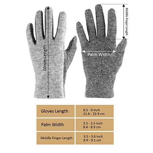 J & J Women Touchscreen Wool Gloves for Cold Weather Daily Commute Driving Walking Running Dog Walking (Gray) by J & J (Image #4)