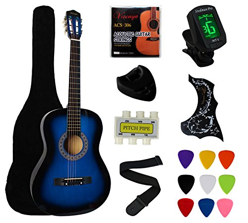 "YMC 38"" Blue Beginner Acoustic Guitar Starter Package Student Guitar with Gig Bag,Strap, 3 Thickness 9 Picks,2 Pickguards,Pick Holder, Extra Strings, Electronic Tuner -Blue - Image 9"