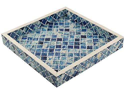 Handicrafts Home Decorative Tray Inspired Vintage Moorish Damask Moroccan Art Handmade Naturals Bone Inlay Quatrefoil Designer All Purpose Serving Tray from (Blue & White) ()