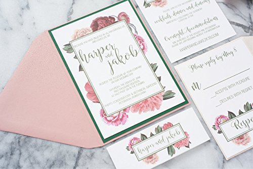 Personalized Floral Watercolor Wedding Invitation Suite, Botanic Wedding Set, Harper (Sand Wedding Invitation)