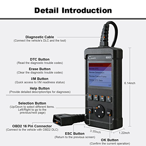LAUNCH Creader 6001 OBD2 Scanner Code Reader Full OBDII/EOBD Scan Diagnostic Tool for O2 Sensor Test, On Board Monitor Test and Turn Off Check Engine Light by LAUNCH (Image #8)