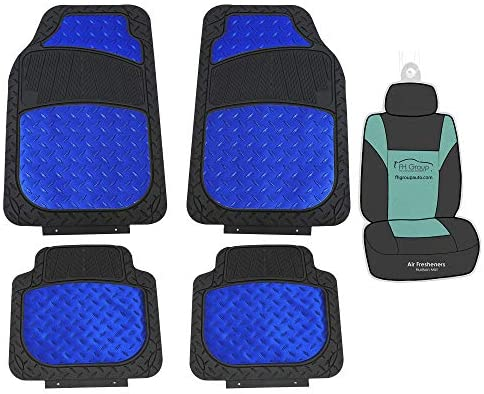 FH Group F11315 Trimmable Metallic Floor Mats (Blue) Full Set – Universal Fit for Cars Trucks and SUVs