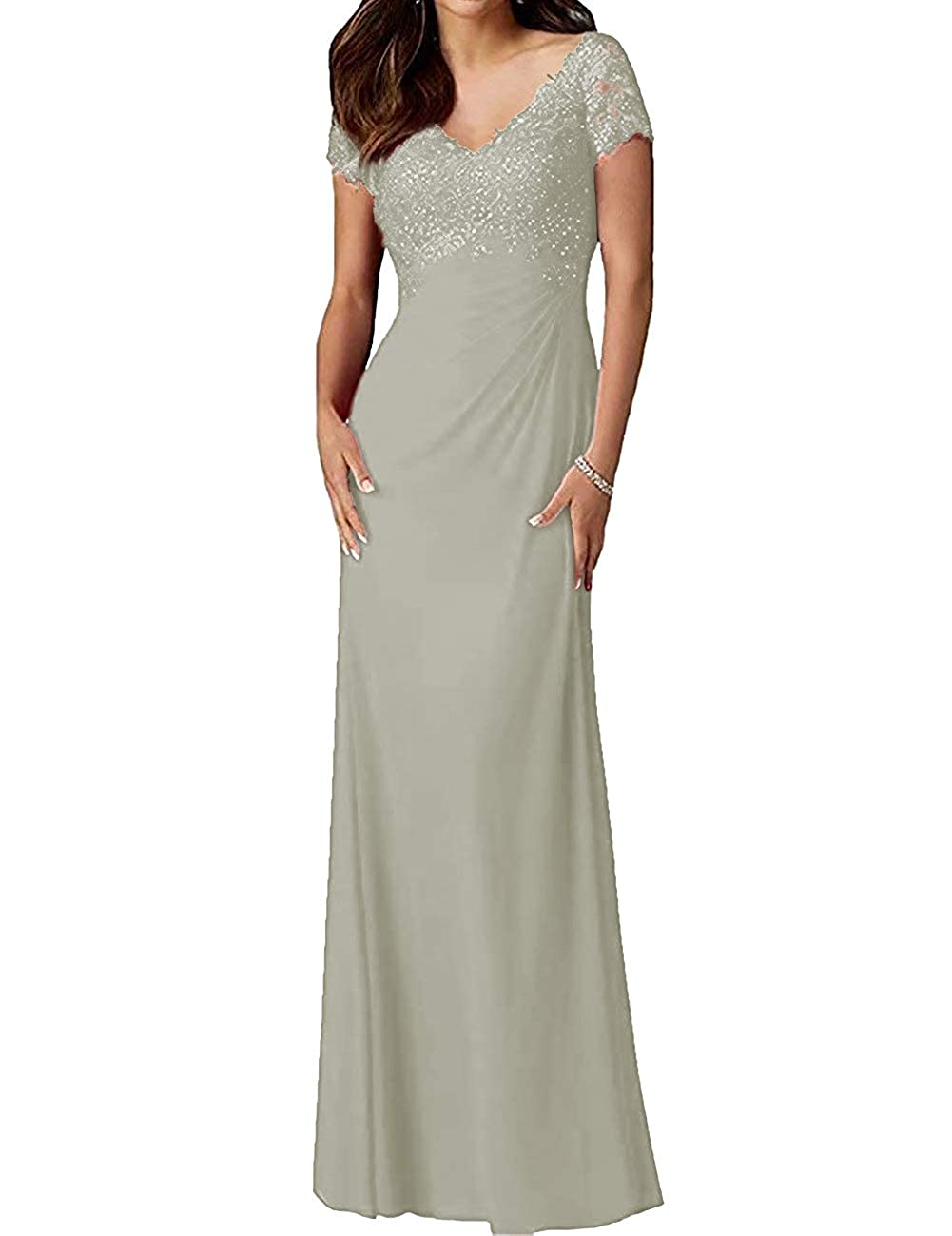 Silver H.S.D Mother of The Bride Dresses Lace Formal Gowns Long Evening Dresses Short Sleeve