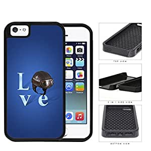 Love Air Force Brown Helmet with Royal Blue Background iPhone 5 5s (2-piece) Dual Layer High Impact Cell Phone Case