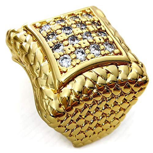Ahappy-Hip hop Size 8-15 Jewelry Men Wedding Engagement 18K Gold Filled Ring R105
