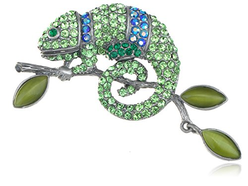 Animal Jewelry Brooches Costume (Alilang Peridot Green Colored Crystal Rhinestone Chameleon Lizard Pin Brooch Silvery Tone Reptile)