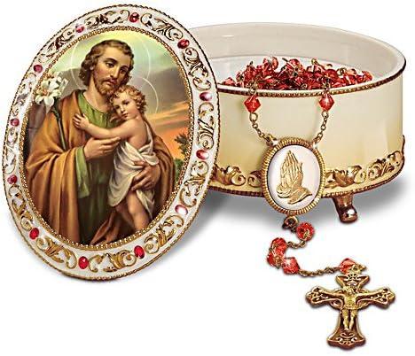St Joseph Heirloom Porcelain Musical Prayer Box by The Bradford Exchange