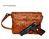 Gun Tote'n Mamas – Concealed Carry Purse – Leather – Tooled American Cowhide (Tan), Bags Central