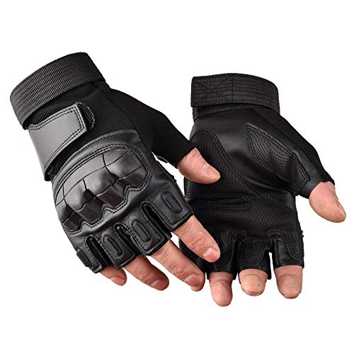 Campstoor Army Military Tactical Gloves Rubber Hard Knuckle Outdoor Gloves Fit Cycling Motorcycle Hunting Hiking Camping Powersports Airsoft Paintball(Black Fingerless, Large)