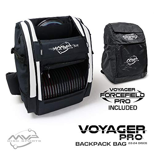 - MVP Disc Sports Voyager Pro Backpack Disc Golf Bag with Forcefield Rainfly - White
