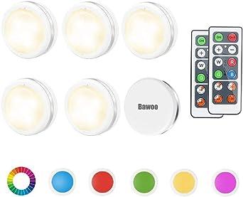 Lampe de Placard RGBW Spot LED Autocollant Murale Bawoo 6pcs Lampes Sans Fil Veilleuse Couleur Telecommande Pour Escalier Miroir Cuisine Vitrines