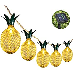 Adecorty Pineapple Solar String Lights, 15ft 20 LEDs Fairy String Lights Waterproof Solar Powered Hanging lights for Outdoor Garden Patio Landscape Home Wedding Birthday Party Decoration (Warm White)