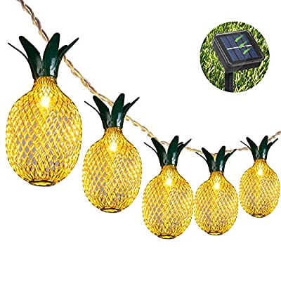 Weepong Pineapple Solar String Lights, 15ft 20 LEDs Fairy String Lights Waterproof Solar Powered Hanging lights for Outdoor Garden Patio Landscape Home Wedding Birthday Party Decoration (Warm White) - PINEAPPLE DECORATIONS LIGHTS - The length between 2 bulbs: 0.5 feet. Leading circuit:5 feet. Outdoor decor pineapple solar lights leaves the theme with the details of the green leaves, set off at night even more cute, delicate, harmonious; SOLAR POWERED & COST EFFICIENT - The LED solar operated string light can illuminate for more than 8 hours if the panel absorbs enough sunshine. The solar starry lights (low voltage) is easy to storage. It is environmental-friendly and safe to use; GREAT FOR THOSE OCCASION - Those figurine lights outdoor will produce a cozy warm white lights which is a ideal for putting on tree, vine, porch, window, balcony, wall, pool, backyard, camper bringing pleasant atmosphere to your home; - patio, outdoor-lights, outdoor-decor - 515JHS y6hL. SS400  -