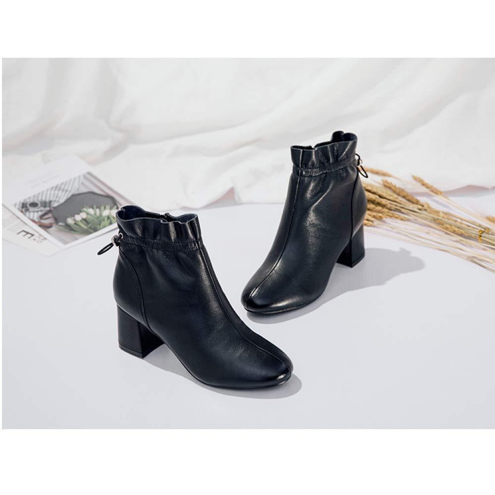 Qingchunhuangtang Hochhackige Stiefeletten weiblich dick dick dick mit Herbst und Winter dünne Stiefel Wilde nackte Stiefel weibliche Kurze Schlauch einzelne Stiefel 340045