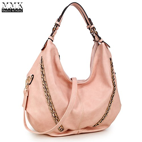 MMK Collection Women Soft Water Wash PU Leather Vintage(6332) Top Dual Handle Crossbody Fashion Cowboy Young Style Chained Hobo Shoulder Bag Handbag (Pink) by Marco M. Kelly