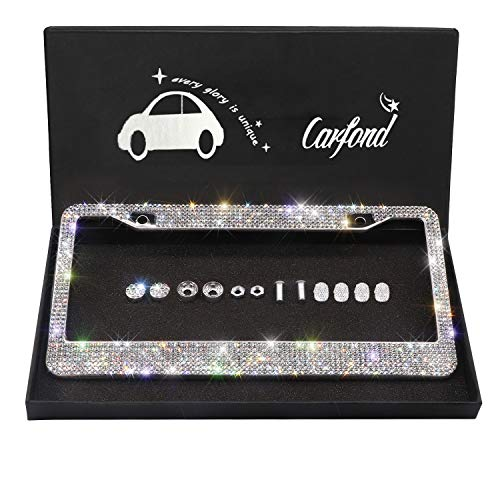 Carfond Handcrafted 1000+ pcs Finest 14 Facets SS20 Premium Crystal Diamond Waterproof Stainless Steel License Plate Frame (Silver+Silver 4pcs Valve caps)