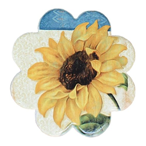 4 PCS, Villatic Ceramic Saucer Cup Stand Durable Tea Cup Mat Cup Tray Sunflower