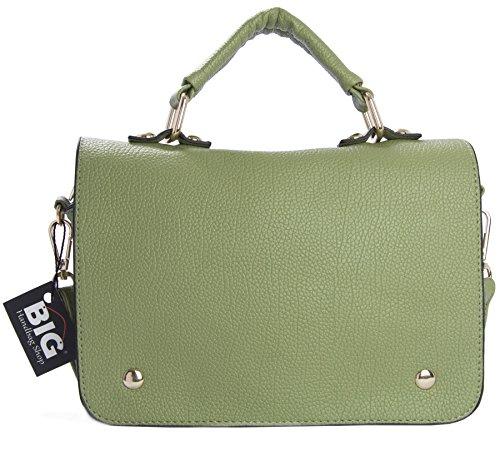 BHBS Bolso Pequeño de Dama para Cruzar con Asa Superior 22x17x2.5 cm (LxAxP) Pastel Verde (HR620)