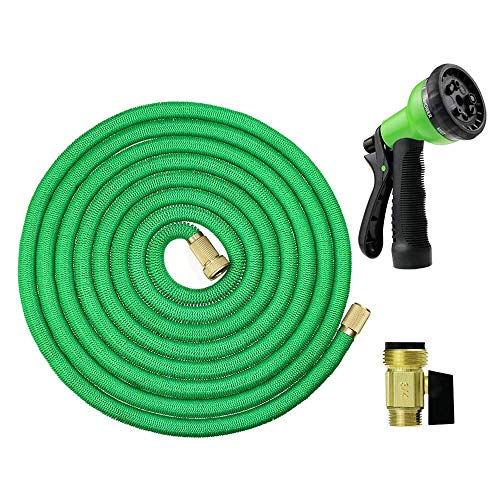 Expandable Garden Hose Flexible Lightweight Leakproof Brass Watering Hose for Gardening/Vehicle Washing/Pet Cleaning Free Spray Nozzle as Gift(Green)-50ft