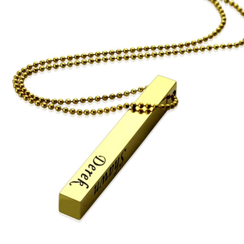 Custom Letter Bar Necklace Men Personalized 4-Sided Four Side Family Name Necklaces Gold Pendant Jewelry Gift for Father Dad Mom