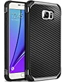 Galaxy Note 5 Case, Samsung Note 5 Case, Note 5 Case, BENTOBEN Shockproof 2 in 1 Hybrid Hard PC Cover Flexible TPU Bumper Chrome Carbon Fiber Texture Protective Case for Samsung Galaxy Note 5, Black