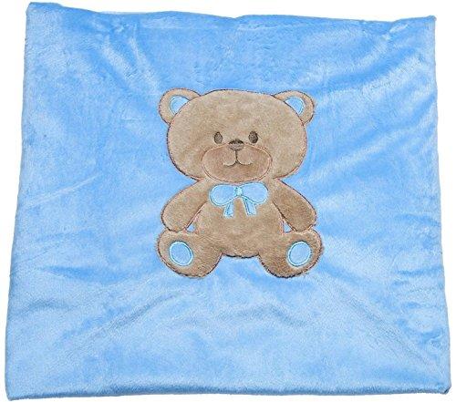 Big Oshi Baby Teddy Super Soft Plush Swaddling Blanket, Blue