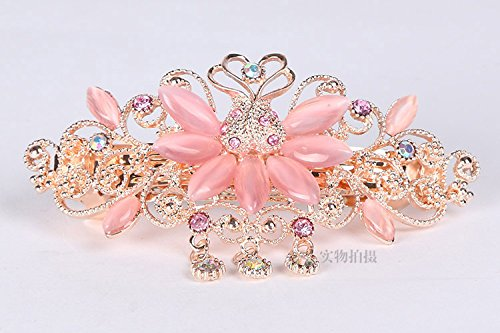 usongs Promotional ponytail clip crystal diamond jewelry leaves diamond hairpin hairpin spring clip -