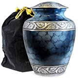 urns for adults - Heavenly Peace Lovely Dark Blue Adult Cremation Urn For Human Ashes - This Beautiful Large Urn is Perfect to Honor Your Loved One - A Warm Comforting Place For Your Cherished Remains - with Velvet Bag