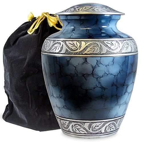 Dark Ash Finish - Heavenly Peace Lovely Dark Blue Adult Cremation Urn For Human Ashes - This Beautiful Large Urn is Perfect to Honor Your Loved One - A Warm Comforting Place For Your Cherished Remains - with Velvet Bag