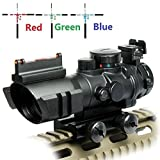 UUQ Prism 4x32 Red/Green/Blue Triple Illuminated Rapid Range Reticle Rifle Scope W/Top Fiber Optic Sight and Weaver Slots (12 Month Warranty)