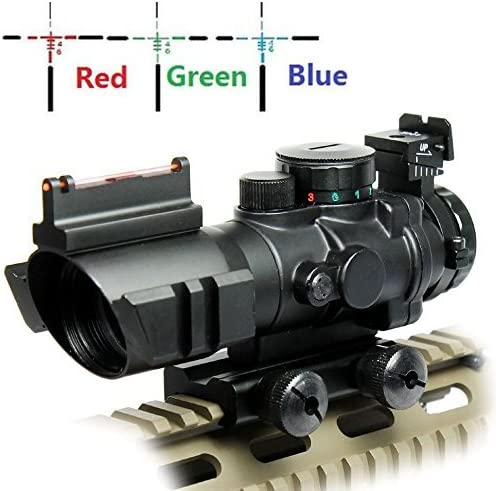UUQ Prism 4x32 Red/Green/Blue Triple Illuminated Rapid Range Reticle Rifle Scope
