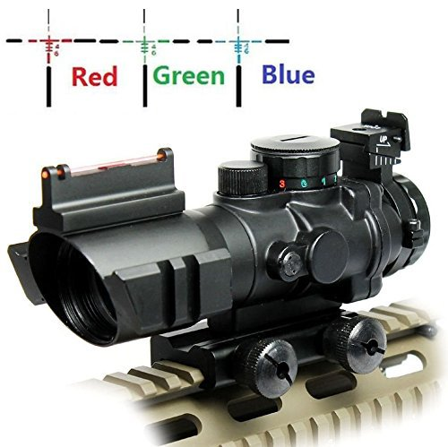 (UUQ Prism 4x32 Red/Green/Blue Triple Illuminated Rapid Range Reticle Rifle Scope W/ Top Fiber Optic Sight and Weaver Slots (12 Month Warranty))