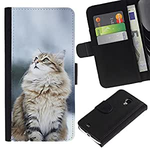 Protector de cuero de la PU de la cubierta del estilo de la carpeta del tirón BY RAYDREAMMM - Samsung Galaxy S4 Mini i9190 - Gato Nevado