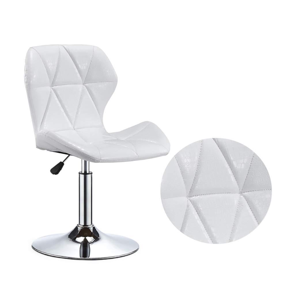 White RFQ redate Bar Stool, Adjustable Breakfast Bar Stools Swivel Faux Leather Breakfast Barstool Chair,Faux Leather Kitchen Breakfast Bar Stool,Black,Write bar Chair (color   White)