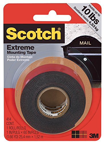 """3M 414P Scotch 1/"""" x 60/"""" Black Extremely Strong Indoor Outdoor Mounting Tape"""
